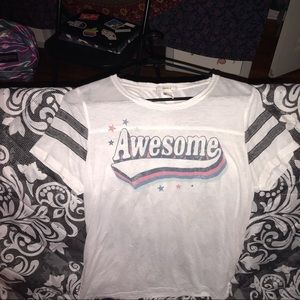 """white, """" awesome"""", graphic tee"""